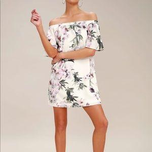 "Lulus ""dream of you"" floral off the shoulder dress"